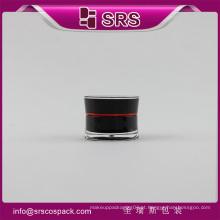 SRS fabricante recipiente cosméticos vazio preto luxo 5g acrílico cosméticos frasco de amostra de creme para unha polonês
