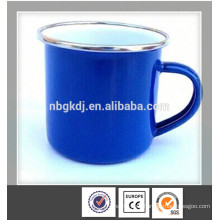 CE,SGS blue enamel commercial coffee cup with SS rim
