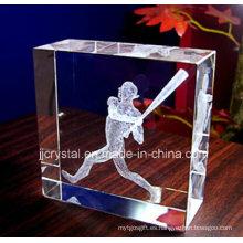 La boda 3D de la foto del laser favorece los regalos personalizados del bloque del rectángulo cristalino