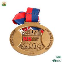 Design Your Own Blank Zinc Alloy 3D Gold Award Marathon Running Custom Metal Sport Medal with Lanyard