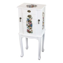 White Floor Standing Wooden Jewelry Armoire with Floral Design