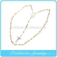 Chapado al vacío tri color 5 mm rosario cuentas de acero inoxidable religioso collar oro rosa oro Virgen María Colgante Jesús Crucifie