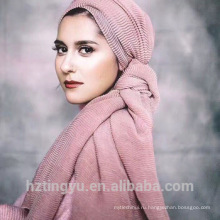 Лучшие продажи оптовая хиджаб мусульманская мода шаль хиджаб закручиваются хлопок рифленный хиджаб