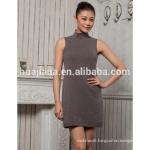fashion women's cashmere highneck dress sleeveless