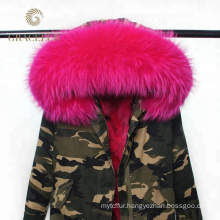 Women long winter military parka coat with reak fur collar