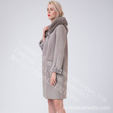바이어스 지퍼 스페인 Merino Shearling Overcoat for Women