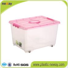 Contenedor grande de plástico transparente con tapa
