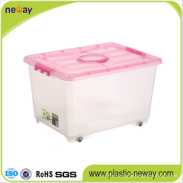 Recipiente grande de armazenamento de plástico transparente com tampa