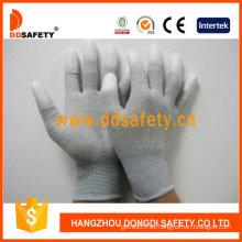 Guantes de fibra de carbono blanco PU recubierto en el dedo (DPU220)