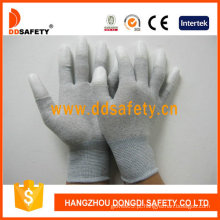Luvas de fibra de carbono branco PU revestido no dedo (DPU220)