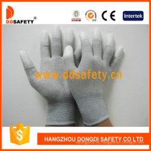 Guantes de fibra de carbono PU blanco recubiertos en el dedo Dpu220