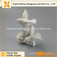 Garden Decoration White Ceramic Bird Craft