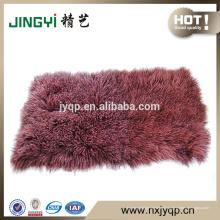 Gros pur cheveux longs mongol tibétain agneau plaques de fourrure teint double couleur