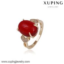 14733 Fine jewelry elegant copper alloy ring designs wholesale 18k gold finger ring for girls