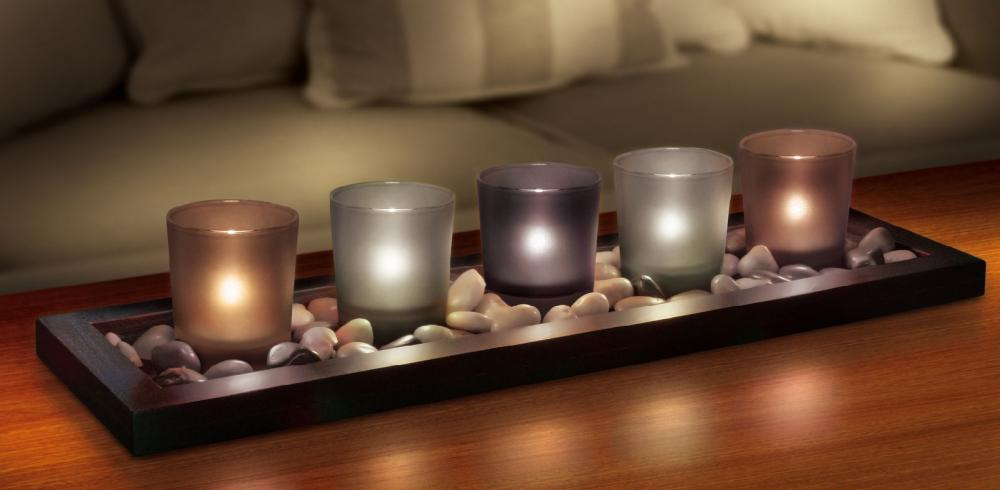 Glass Candle Holder Wth Tray