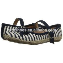 Girls Striped Espadrille Shoe Cute Buckle Strap Bowknot Flats