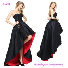Благородный без бретелек черный высокая низкая Пром платье с красной подкладкой и вышивкой Вишня карманы