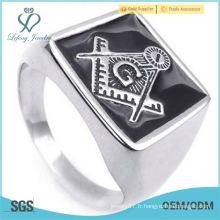 Bague en acier inoxydable de style Classic MASMAN Freemasons pour homme