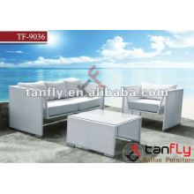 TF-9036 M-shape pure white modern minimalist rattan sofa set