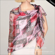 2015 polyster printed chiffon georgette scarf shawl for fashion lady
