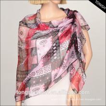 Полиэфирные 2015 печатных шифон жоржет шарф шаль для дамы