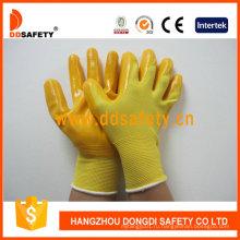 Желтый нейлон с желтым Нитрилом перчатка Dnn346