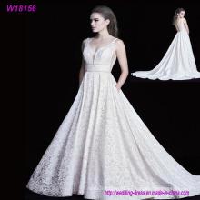 Vestidos de boda llenos apliques de alta calidad del cordón / vestidos reales de la boda de la venta caliente