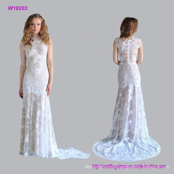 Sleeveless Floral Lace with Chapel Length Train Wedding Dress