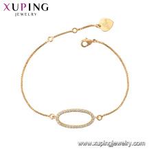 75789 xuping 18k banhado a ouro charme da moda imitação de cristal pulseira para as mulheres