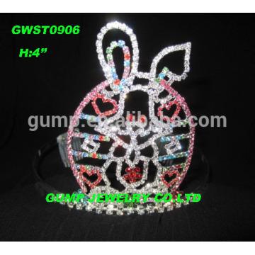 Corona grande de la tiara del conejo del rhinestone para Pascua, tamaños disponibles