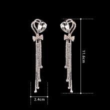 Fashion New Luxuriant heart-shaped crystal long earrings Manual rhinestone earrings