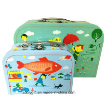 Full Color Printing Cartoon Paper Suitcase with Handle for Toys