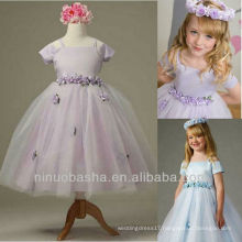 Cute A Line Handmade Flower Short Sleeve Tea Length Flower Girl Dress Wedding Gown