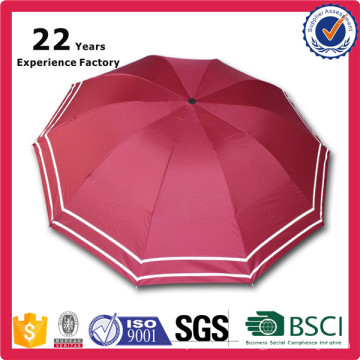 New Hot-sale Free sample China Manufacturer Special Fabric Material Manual Open Safety 3 Fold Reflective Umbrella