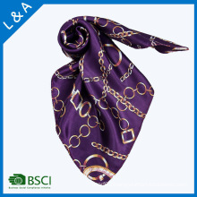 Polyester Satin Purple Rope Chain Scarves Little Square Scarf