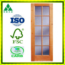Porte française en bois de 10lite / verre solide / placage