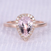 9x6mm Pear shaped Morganite and Diamond Engagement Ring 14k Rose gold Halo Stacking Band
