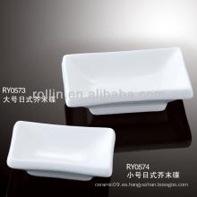 Plato de mostaza seguro de porcelana blanca saludable duradero