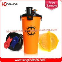 OEM 700ml Plastik doppelte getrennte Schüttel-Flasche BPA freie Hydra Schale (KL-7015)