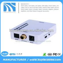 Señales de audio digital coaxiales o Toslink para el convertidor de audio analógico L / R RCA
