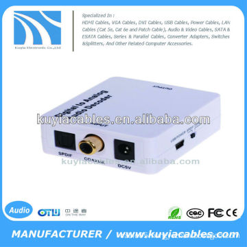 Coaxial or Toslink digital audio signals to analog L/R RCA audio converter
