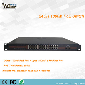 24chs penuh 1000M Port Serat Ganda POE Switcher