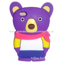 3D Cute Little Bear-shaped Soft Silicone Cover/Case for iPhone 6, 4.7-inch/Soft, Flexible, Durable