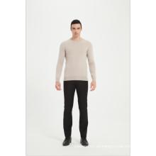Suéter de cuello redondo de cachemira lavable a máquina para hombre