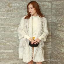 Femmes élégantes tricotées long manteau de vison en gros pour les dames