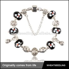 Fashion Jewelry trending Hot Products Unique Crystal black beads silver handcuff bracelet