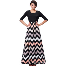 Kate Kasin Women's 3/4 Sleeve High Stretchy Contrast Color Wave Stripe Maxi Dress KK000238-1