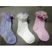 2017 Custom Good Quality Girl Cotton Socks with Lace