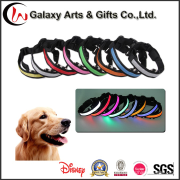 Collar de perro LED de nylon multicolora superventas del collar del animal doméstico que destella
