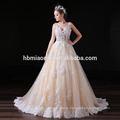 Customized Lace Appliques A Line Long Tail Korean Evening Dress For Wedding Party